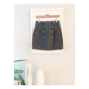 J.Crew Marching Mini Wrap Skirt in Olive